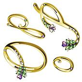 Gold jewelry alphabet letters O,P