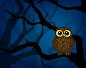 Illustration of cute little owl in the forest at night