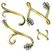 Gold jewelry alphabet letters Y,Z