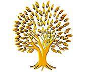 Gold tree prosperity symbol 3D logo