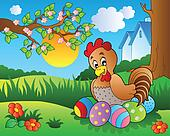 Meadow with hen and Easter eggs