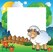 Easter frame with sheep on meadow