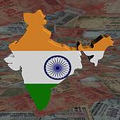 India map flag with Rupees perspective