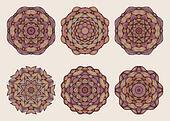 Set of mandalas. Beautiful hand drawn flowers.