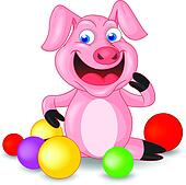 Cute Piglet with Balls