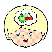 cartoon man thinking about healthy eating