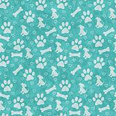 Teal and Gray Doggy Tile Pattern Repeat Background