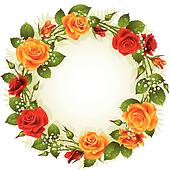 Vector red and yellow rose frame