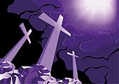 Crosses on Golgotha and light of resurrection