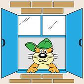 Cartoon Cat at Window