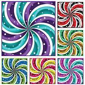 Six colored sunbursts set