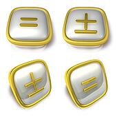 Equal and Plus minus sign 3d metalic square Symbol button. 3D Ic