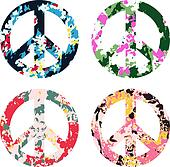 peace symbol with flower print