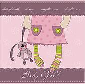Pink Baby girl arrival announcement card