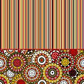 Background with stripes and oriental motifs
