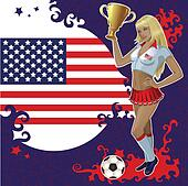 American soccer poster with girl