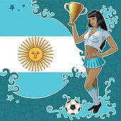 Argentinean soccer poster with girl