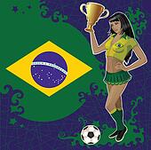 Brazilian soccer poster with girl