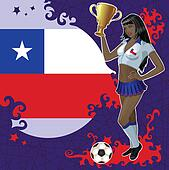 Chilean soccer poster with girl