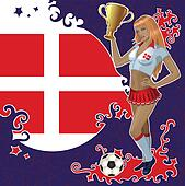 Danish soccer poster with girl