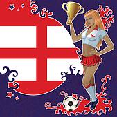 English soccer poster with girl
