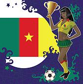 Cameroon soccer poster with girl