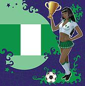 Nigerian soccer poster with girl