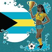 Bahamian soccer poster with girl