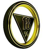 Gold metal eighteen Percent on white