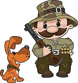 hunter and dog