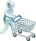 Shopping trolley silver person