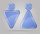 transparent sign man and women toilets vector illustration