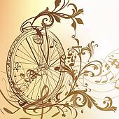 Music background with bike wheel, notes and swirls in vintage st