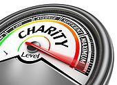 Charity level conceptual meter indicate maximum