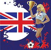 British soccer poster with girl