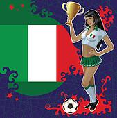 Italian soccer poster with girl