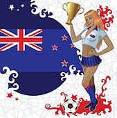 New Zealand soccer poster with girl