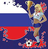 Russian soccer poster with girl