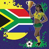 African soccer poster with girl