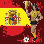Spanish soccer poster with girl