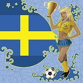 Swedish soccer poster with girl