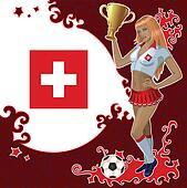 Swiss soccer poster with girl