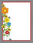 Flowers and Checks Border