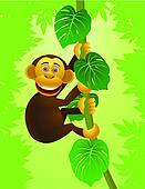 Chimpanzee cartoon in the jungle