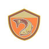Metallic Trout Swimming Down Shield Retro