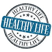 Healthy life blue grunge textured vintage isolated stamp