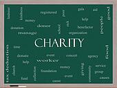 Charity Word Cloud Concept on a Blackboard