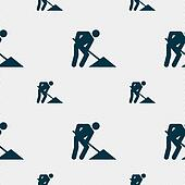 repair of road, construction work icon sign. Seamless pattern with geometric texture.