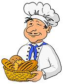 Baker with bread basket