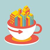 volume illustration modern city in cup of coffee